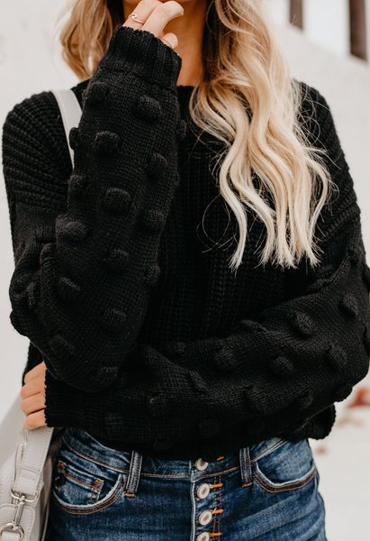 Black Drop Shoulder Crop Sweater