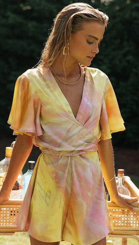 Marbled Tie Dye Wrap Romper Yellow/Pink