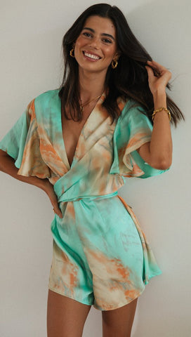 Marbled Tie Dye Wrap Romper Aqua/Orange