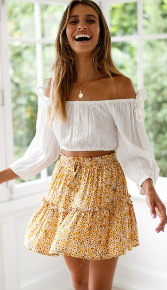 Yellow Floral Withdraw Mini Skirt