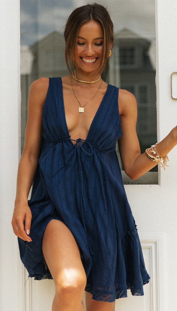 Navy Plunging Neck Sleeveless Dress