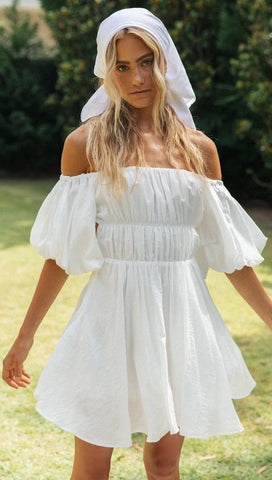 White Off the Shoulder Pleated Dress