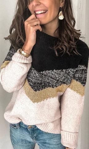 Black Yoke V Stripe Pattern Sweater