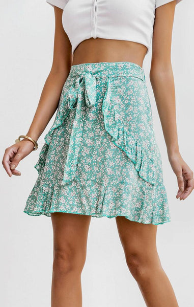 Green Floral Bowtie Mini Skirt