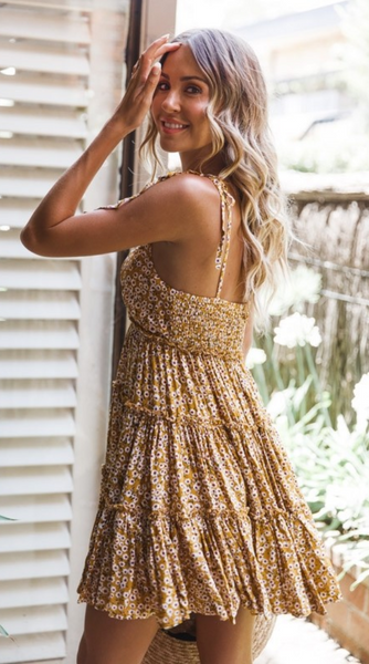 Yellow Floral Shoulder-Tie Slip Dress