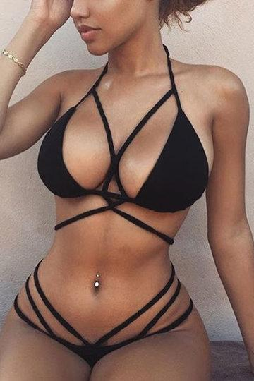 Black Braided Rope Strappy Bikini Set