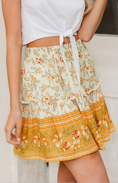 Delicate Orange Floral Withdraw Mini Skirt