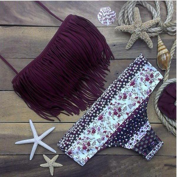 Purple Fringe Tassel Bandeau Bikini Top And Floral Bottom