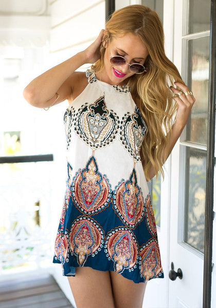 Boho Paisley Print Halter Shift Dress