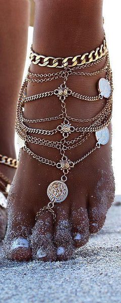 Antique Metalic Coin Pattern Feet Chain