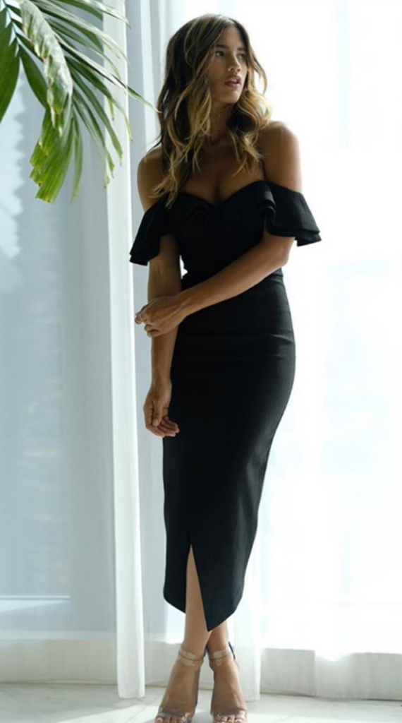 Off Shoulder Sweetheart Split Maxi Dress