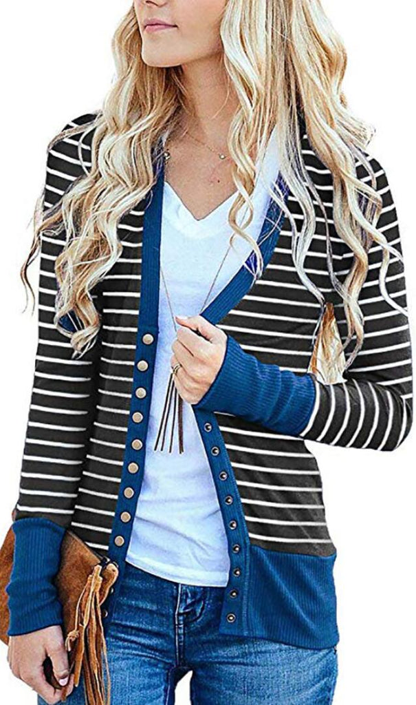 Blue Basic Striped Button Down Cardigan