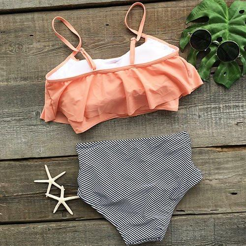 Pink Overlay Bikini Top Striped High Waisted Bikini Bottom