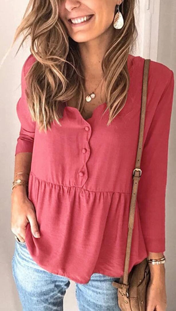 Hot Pink Buttoned Peplum Long Sleeve Top