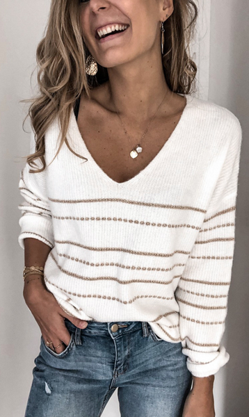 White Striped Pullover Knit Sweater