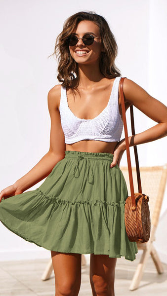 Green Withdraw Pleated Mini Skirt