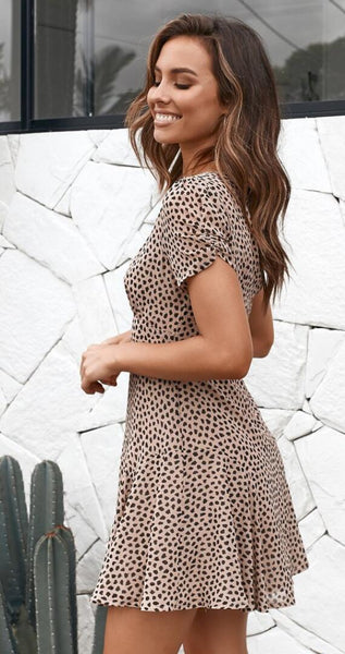Khaki Dot Print A-Line Dress