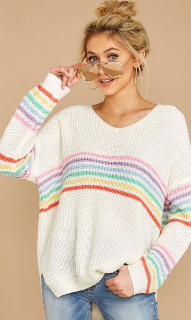 White Rainbow Stripe High-Low Sweater