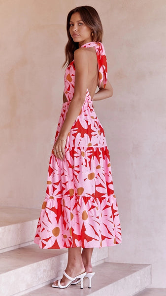 Camel Bodycon Stripe Knit Dress