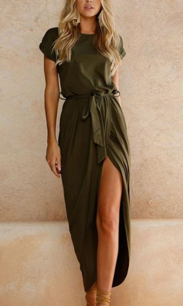 Army Green Tie Waist Short Sleeve Maxi Wrap Dress
