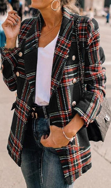 Black Tartan Plaid Wool Coat