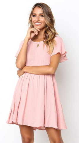 Pink Pleated Short Sleeve Dress