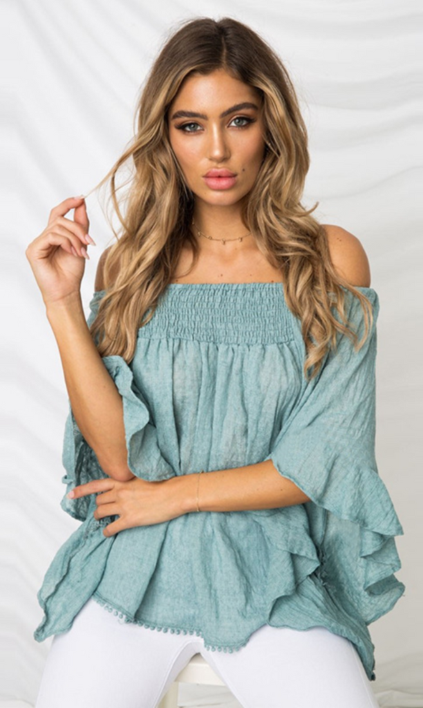 Slate Blue Smocked Off Shoulder Top