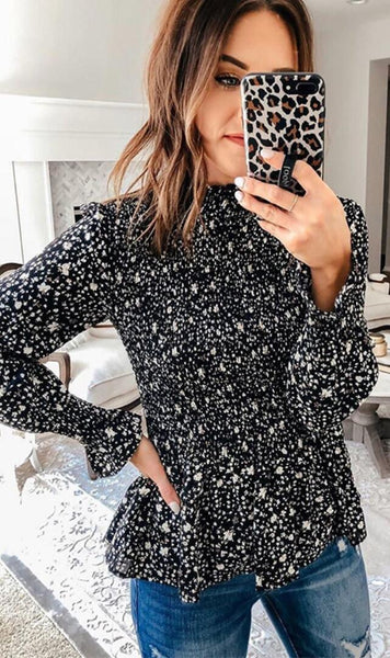 Black Floral Long Sleeve Chiffon Top