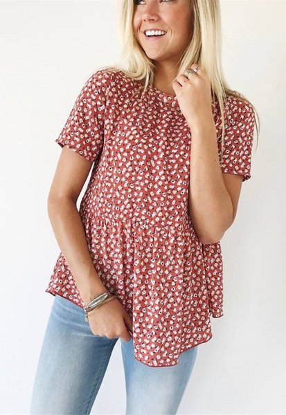 Red Floral Short Sleeve Tee