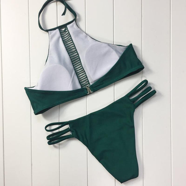 Olive High Neck Bikini Bathing Suits