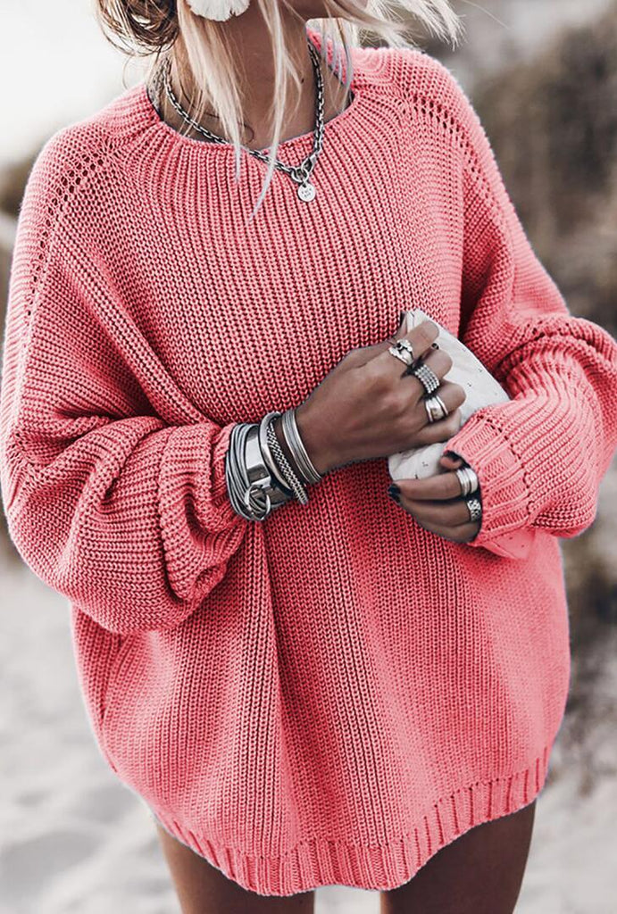 Coral Pink Batwing Loose Fit Long Sweater