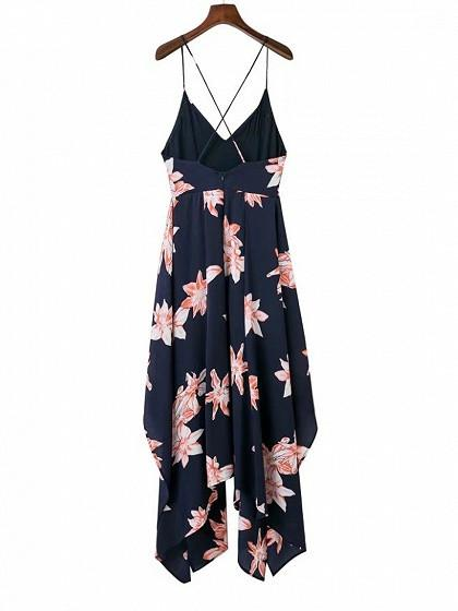 Navy Blue Floral Asymmetric Cami Maxi Dress