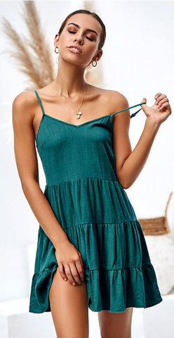 Green Pleated Linen Slip Dress