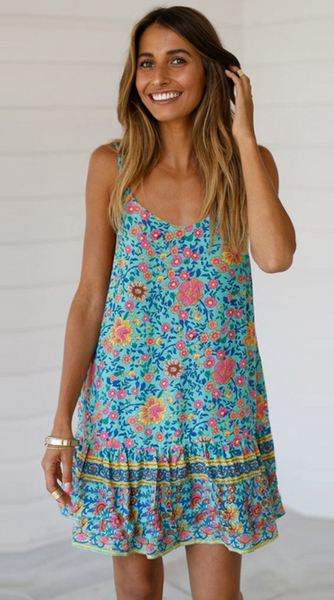 Teal Floral Slip-On Dress