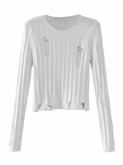 White Ripped Knit Cropped Jumper