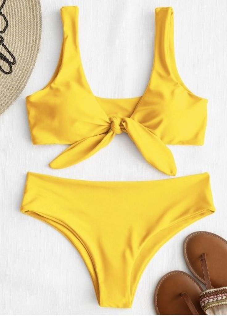Yellow Knot Bikini Bathing Suit