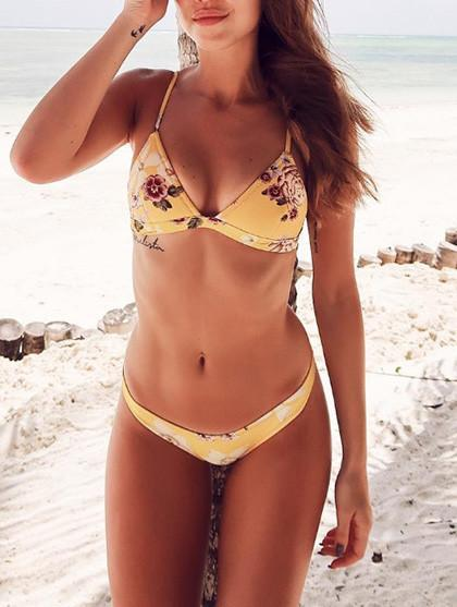 Game Start Cute Little Floral Print Bikini Set