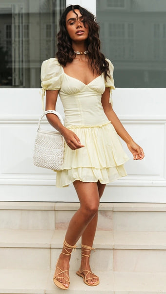 Yellow Sweetheart Flare Mini Dress