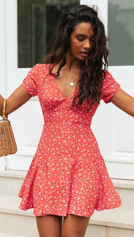 Red Floral Flare Mini Dress