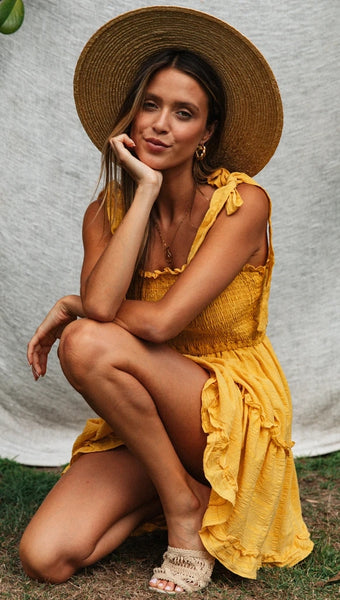 Yellow Shoulder-Tie Smocked Dress