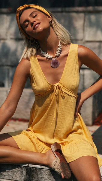 Yellow V Neck-Tie Sleeveless Dress