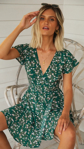 Green Floral Surplice Flare Mini Dress