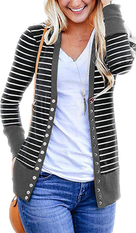 Gray Basic Striped Button Down Cardigan
