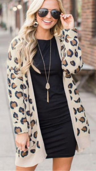 Animal Print Open Front Cardigan