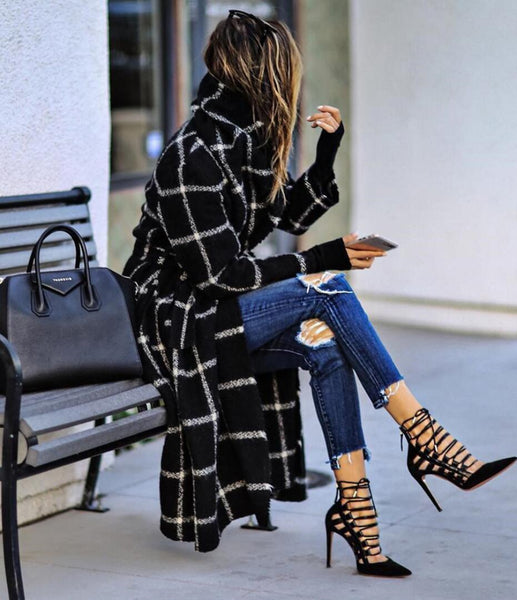 Black Plaid Woollen Coat