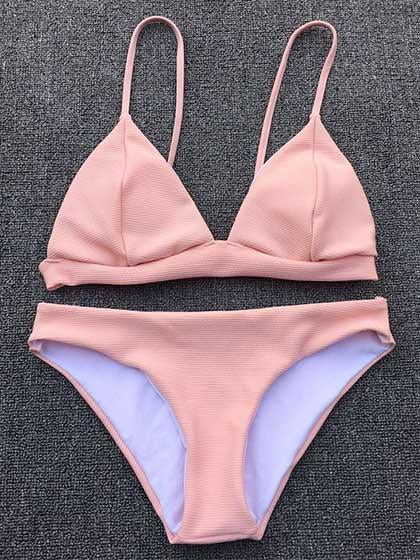 Sweet Peach Blushing Pink Bikini Set