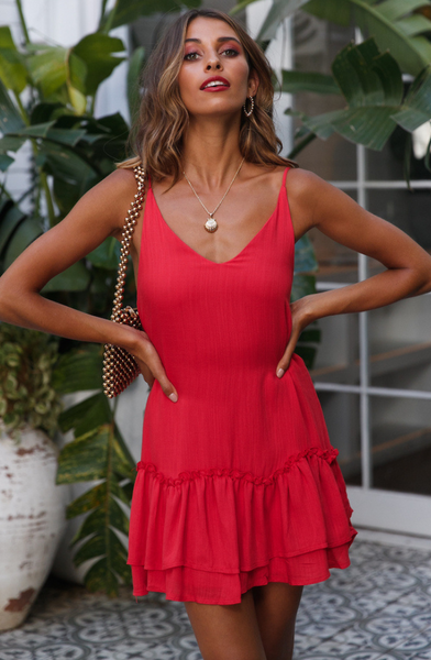 Red V Neck Slip Dress