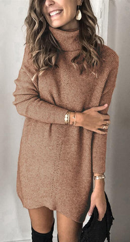 Brown Ribbed Knit Turtleneck Sweater Dress