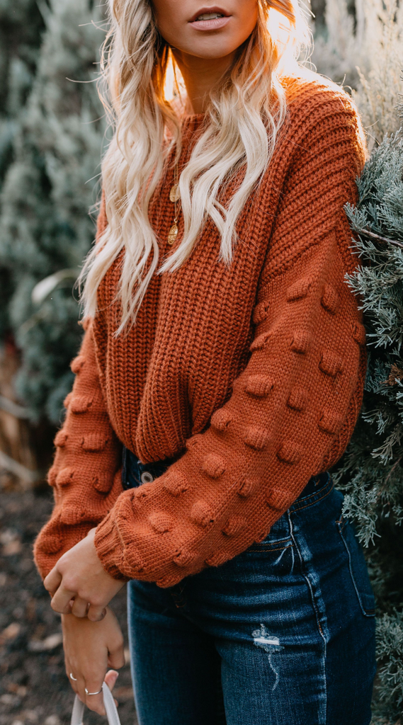 Brown Drop Shoulder Crop Sweater