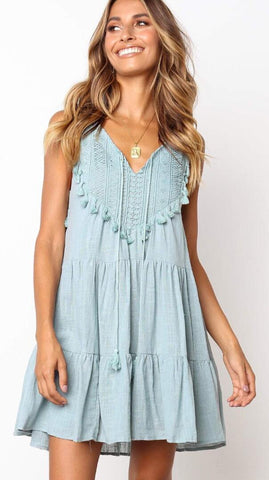Green Crochet Lace Neck-Tie Shift Dress